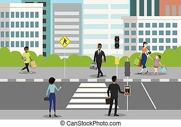 rue croisement, feux circulation, ville, piéton