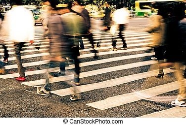 rue croisement, zebra, foule, gens