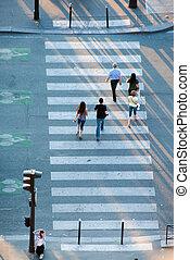 rue croisement, zebra, gens