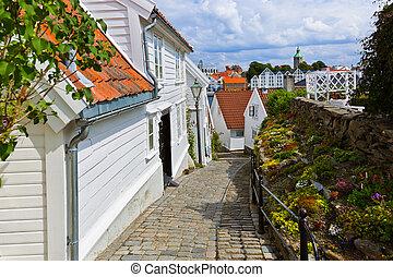 rue, dans, vieux, centre, de, stavanger, -, norvège