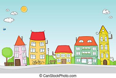 rue, dessin animé
