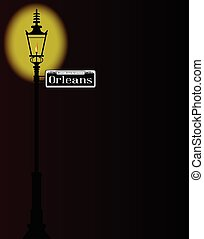 Rue D'Orleans Sign With Lamp