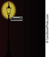 Rue du Canal Sign With Lamp