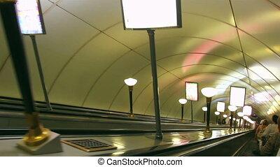 rue., escalator, station de métro