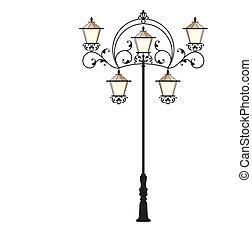 rue, fer, lampe, forgé