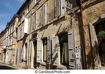 rue, france., arles, ville, provence., vieux