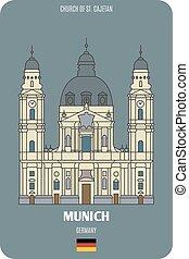 rue., germany., européen, église, architectural, repère, villes, munich, cajetan, icon., symboles
