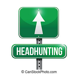rue, headhunting, illustration, signe