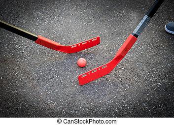 rue, hockey jouant, enfants