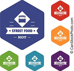 rue, icônes, nourriture, hexahedron, chaud, vecteur