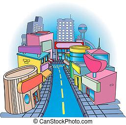 rue, illustration, shoppig