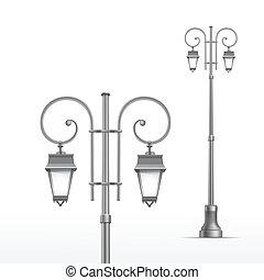 rue, isolé, lampe, vecteur, fond, blanc