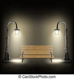rue, lamps., éclairé, banc