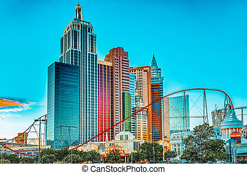 rue, las, nouveau, york., vegas-is, principal, soir, casino, bande, hôtel, time., resort-