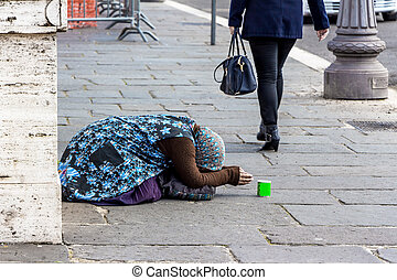 rue, mendiant