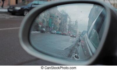 rue, miroir, route arrière, reflété