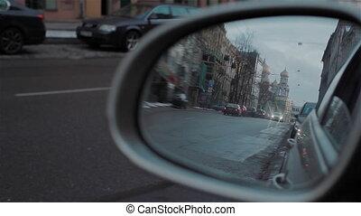 rue, mirro, route arrière, reflété