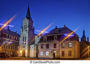 rue, moyen-âge, riga, historique, vieux, night., centre