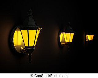 rue, mur, brillé, sombre, lanternes, nuit