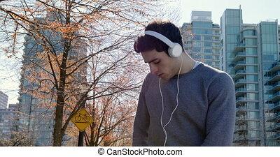 rue, musique, quoique, jogging, homme, 4k, écoute