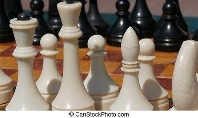 rue, noir, stand, planche, blanc, échecs