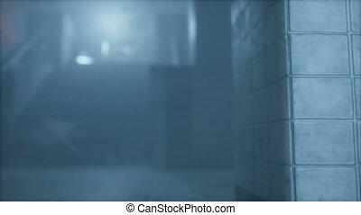 rue, nuit, brouillard, vieux, pluvieux, ville