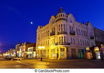 rue, nuit, centre, russie, samara