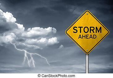 rue, -, orage, devant, signe