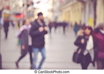 rue, par, marche, brouillé, gens, ville