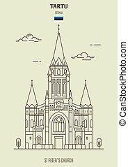 rue, peter?s, repère, icône, estonia., tartu, église