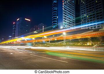 rue, pistes, lumière