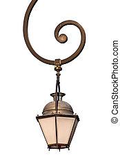 rue, retro, lanterne