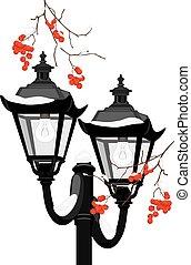 rue, rowan, lanterne, neigeux