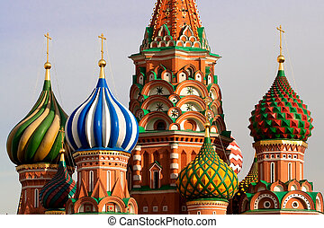 rue., russie, moscou, basil's, cathedral.
