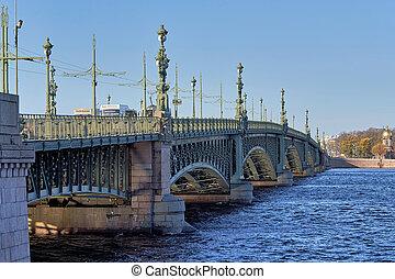 rue, russie, rivière, neva, petersburg, sur, trinité, fragment, pont