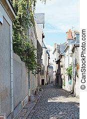 medieval narrow street in Angers, France - Rue Saint Aignan...