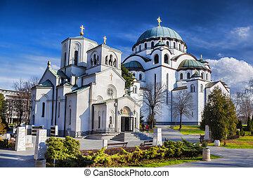 rue., sava, cathédrale, dans, belgrade, ville capitale, de,...