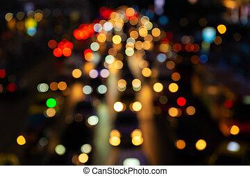 rue., traffic., large, brouillé, footage., ville, dense, lights., transport, trafic, flou, confiture, nuit, frein, interchange.