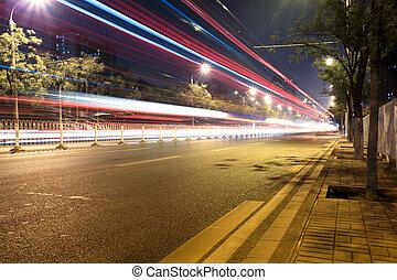 rue, trafic, nuit