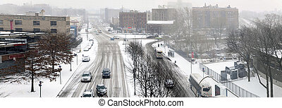 rue, trafic, pendant, neiger orage, dans, les, bronx
