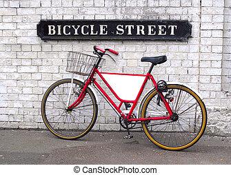 rue, vélo, panneau