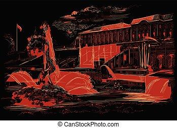 rue, vecteur, noir, petersburg, 7, main, dessin, rouges