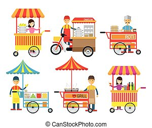 rue, vendeur, nourriture, colporteur, boisson