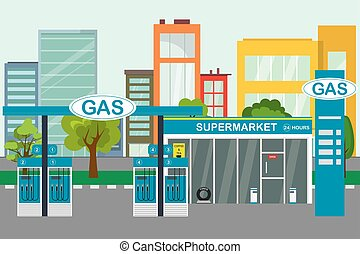 rue, vide, essence, concept, vie, ville, station, industrie