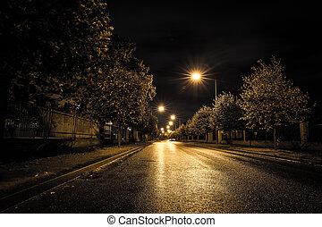 rue, vide, nuit