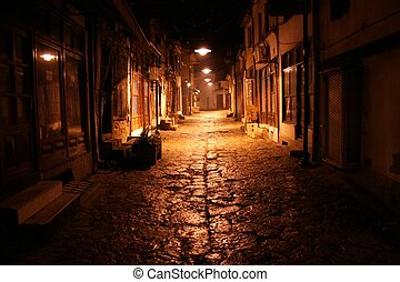 rue, vieux, nuit