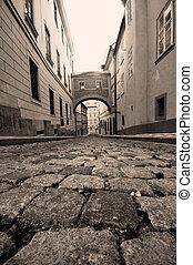 rue, vieux, prague., charmer