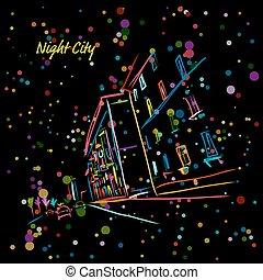 rue ville, conception, ton, nuit