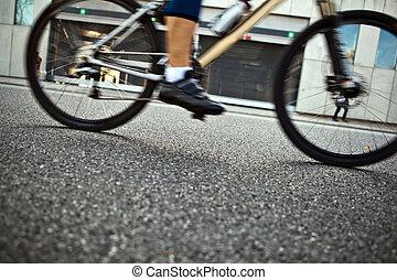 rue ville, cyclisme, homme