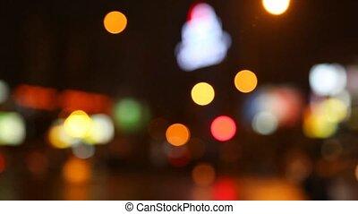 rue ville, en mouvement, lumières